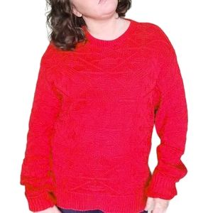 Vintage Woolrich   Red Oversized Knit Sweater